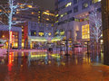 Commerce square philadelphia at night in on a wet winter with water reflecting the bright lights Stock Photography