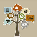Commerce tree icons over beige background vector illustration Royalty Free Stock Images