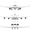 Commercial airplane layered illustration of collected Royalty Free Stock Photo