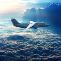 Commercial airplane in the sky Stock Image
