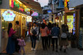 Commercial alleys in xiamen city southeast china zengcuoan area where people enjoy eating local food and shopping at boutiques Royalty Free Stock Images