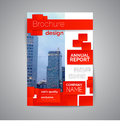 Commercial annual report template. Modern flyer with geometric shapes. Abstract business brochure.