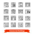 Commercial buildings set. Thin line art icons.