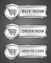 Commercial buttons shopping metallic icons vector illustration Stock Photos