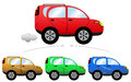 Commercial cartoon car illustration featuring a set of colored cars isolated on white background eps file is available Royalty Free Stock Photography