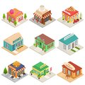 Commercial City Shops Signs 3d Icons Set Isometric View. Vector