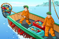 Commercial fisherman fishing a vector illustration of at the sea Royalty Free Stock Image