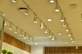 Commercial led light lighting and shop decoration lamps are installed on shop ceiling Stock Images