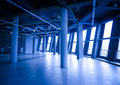 Commercial premises in a shopping center rental blue color with ventilation system Royalty Free Stock Photos