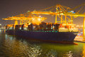 Commercial sea port at night Royalty Free Stock Photo