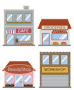 Commercial structure four type of shop building vector Royalty Free Stock Images