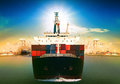 Commercial vessel ship and port container dock behind use for fr Royalty Free Stock Photo