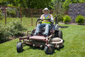Commericial Lawn Mowing with Zero Turn Stock Photography