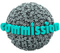 Commission percent sign ball earning bonus pay rate the word on a d or sphere of percentage signs or symbols to illustrate a Royalty Free Stock Photos