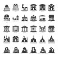 Common buildings and places vector icon set like government police hospital church cafe bank restaurant theater cinema fuel Stock Photos
