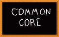 Common core on chalkboard written black Stock Photos