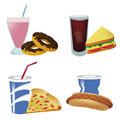 Common fast food four icons of each one with personal drink Stock Photo