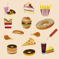Common fast food a lot of icons for in a background Royalty Free Stock Images