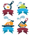 Common food and everyday meal collection of symbols emblems Stock Images