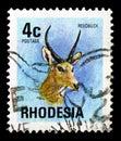 Common Reedbuck Redunca arundinum, Fauna and Flora serie, circa 1974 Royalty Free Stock Photo