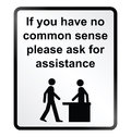 Common sense information sign monochrome comical public isolated on white background Stock Photos