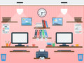 Common workspace flat vector illustration Royalty Free Stock Image