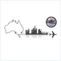 Commonwealth of australia skyline buildings silhouette backgroun background vector design template Royalty Free Stock Images