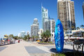 Commonwealth games countdown clock gold coast shaped as a surfboard is four meters tall and stands at the beach end of cavill ave Royalty Free Stock Image