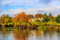 Commonwealth lake park colorful tree leaves by the in beaverton oregon Royalty Free Stock Photos