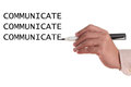 Communicate abstract with hand writing in white backgound Stock Photography