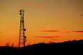 Communication Cell Tower Sunset Stock Photo