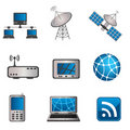 Communication and computer icon set Royalty Free Stock Photography