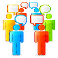 Communication concept color figures of people with talk bubbles over their heads Royalty Free Stock Images