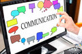 Communication concept on a computer monitor Royalty Free Stock Photo