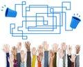 Communication connection telecommunication telephone transmit co concept Stock Image
