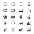 Communication device flat icons simple clear and sharp easy to resize Stock Photography