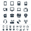 Communication device icons simple clear and sharp easy to resize no transparency effect eps file Royalty Free Stock Photography