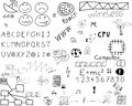 Communication doodles lots of involving connections and communications on a white background Royalty Free Stock Photography
