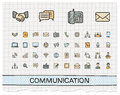 Communication hand drawing line icons Royalty Free Stock Photo