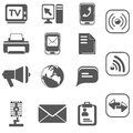 Communication icon set black Royalty Free Stock Photo