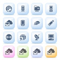Communication icons on color buttons. Royalty Free Stock Photos