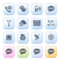 Communication icons on color buttons vector set for websites guides booklets Stock Photo