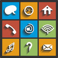 Communication icons and connection symbols Stock Photo