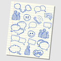 Communication icons illustration of and speech on school lined paper Royalty Free Stock Images