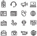 Communication icons ios line style Royalty Free Stock Image