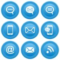 Communication icons round blue buttons with mobile sms e mail Stock Images