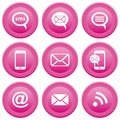 Communication icons round pink buttons with mobile sms e mail Royalty Free Stock Images
