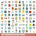 100 communication icons set, flat style