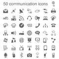 Communication icons with theme of dark gray color on white background Stock Photography