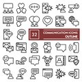 Communication line icon set, conversation symbols collection, vector sketches, logo illustrations, message signs linear